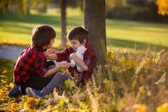 Twee kinderen, jongens, die met stuk speelgoed in het park spelen Stock Fotografie