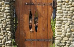 Twee kinderen kijken over de omheining stock afbeeldingen