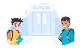 Twee klasgenoten ontmoetten elkaar dichtbij de schooldrempel royalty-vrije illustratie