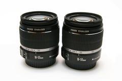 Twee IS klassieke lens 18-55 Stock Afbeelding