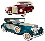 Twee klassieke uitstekende auto's stock illustratie