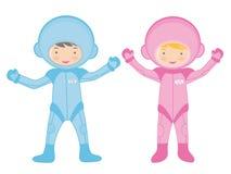 Twee kleine astronauten vector illustratie