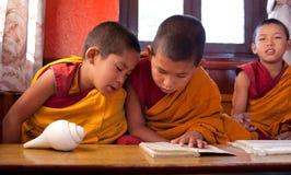 Twee kleine boeddhistische monniken Stock Afbeelding
