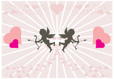 Twee kleine cupids Royalty-vrije Illustratie