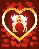 Twee kleine engelen kissng vector illustratie