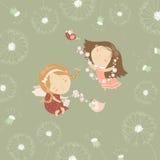 Twee kleine engelen met bloemen vector illustratie