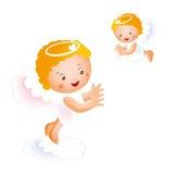 Twee kleine gelukkige engelen stock illustratie