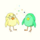 Twee kleine grappige vogels stock illustratie