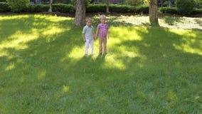 Twee kleine jonge geitjesjongens die het gras in het park bij zonsondergang doornemen stock footage