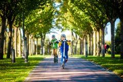 Twee kleine jonge geitjesjongens die op duwautopedden berijden Waarschuw de zomer of de lentedag De jongen die van het broersjong royalty-vrije stock afbeelding
