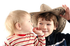 Twee kleine jongens (broers) Royalty-vrije Stock Afbeelding
