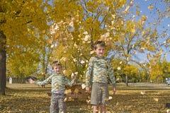Twee kleine jongens werpen kleurrijke bladeren in lucht Stock Foto
