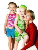 Twee kleine kinderen met moeder Royalty-vrije Stock Foto