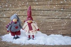 Twee kleine santadecoratie Stock Foto
