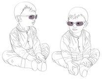 PT-kleine tweelingenjongens in zonnebril Royalty-vrije Stock Afbeelding