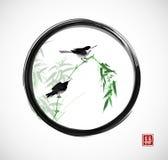 Twee kleine vogels die op bamboetak zitten in zwarte enso zen cirkel De traditionele oosterse inkt die sumi-e, u-zonde schilderen vector illustratie