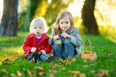 Twee kleine zusters die buiten spelen Stock Fotografie