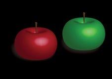 Twee kleurenappelen op zwarte achtergrond royalty-vrije illustratie