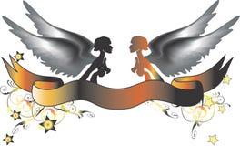 Twee kleurenengelen royalty-vrije illustratie