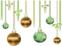 Twee kleurenlinten en ballen Stock Foto's