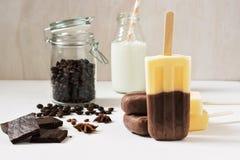 Twee kleurenroomijs op een vanille van de stokkoffie De zomerdessert - koffieroomijs Stock Fotografie