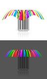 Twee kleurrijk creatief streepjescode 3d effect Stock Foto's