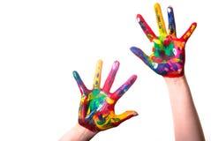 Twee kleurrijke handen met de Ruimte van het Exemplaar Royalty-vrije Stock Afbeelding