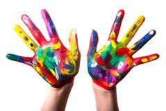 Twee kleurrijke handen V1 Stock Afbeeldingen
