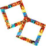 Twee Kleurrijke Vierkante Frames Stock Afbeeldingen