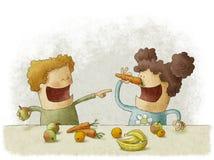 Twee kleuters die onderbreking voor vruchten hebben stock illustratie