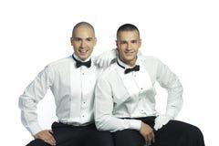 Twee knappe glimlachende mensen Stock Foto