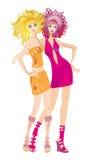 Twee knappe meisjes Vector Illustratie