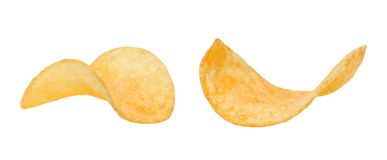Twee knapperige plakken van chips op een wit geïsoleerde achtergrond Sluit omhoog stock fotografie
