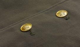 Twee knopen op het uniform van een militair van het Sovjetleger Royalty-vrije Stock Afbeelding