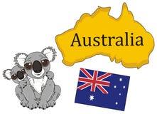 Twee koala's met continent en vlag van Australië royalty-vrije illustratie