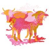 Twee koeien vector illustratie
