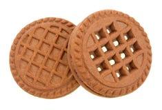Twee koekjes van het chocoladekoekje Royalty-vrije Stock Afbeeldingen