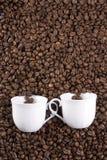 Twee koffiekoppen Stock Foto's
