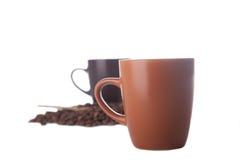 Twee koffiekoppen op wit Stock Fotografie