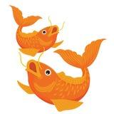Twee Koi Fish Illustration Vector Drawing Kleur stock foto
