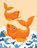 Twee Koi Fish Illustration Vector Drawing Kleur royalty-vrije stock foto's
