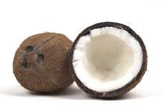 Twee kokosnoten wijd met drie divits Stock Afbeeldingen