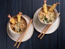 Twee kommen van tempura udong noedels royalty-vrije stock fotografie