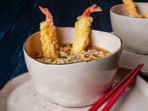 Twee kommen van tempura udong noedels, close-upmening stock afbeeldingen