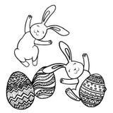 Twee konijnen en ei Royalty-vrije Stock Afbeelding