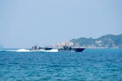 Twee Koninklijk Thais marine Landingsvaartuig Mechanizeds of het gezoem van LCMs carrie stock fotografie
