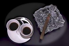 Twee koppen met geurige koffie Stock Foto's