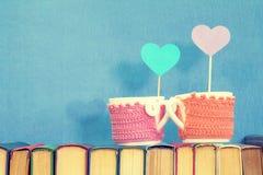 Twee koppen met harten op boeken Stock Afbeelding