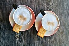 Twee koppen van cappucino Stock Fotografie