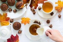 Twee koppen van Engelse thee met melk Royalty-vrije Stock Fotografie